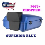 Us Stock Superior Blue Chopped Tour Pack Black Latch For 97-20 Harley Touring