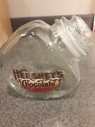 Vintage Hersheys Chocolate Glass Counter Candy Jar With Glass Lid Advertising
