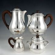 Art Deco French Sterling Silver 4pc Tea And Coffee Set Teapot And Coffee Pot