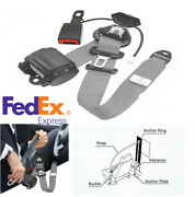 3 Point Retractable Car Safety Seat Belts W/curved Rigid Buckle W/ Warning Cable