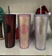 Starbucks Pink And Plum And Disco Holiday 2020 Tumbler Studded In Hand Lot Of 3