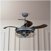 Industrial Ceiling Chandelier Fan W/retractable Blades 5-bulb Lamp Cage Shade
