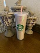 Starbucks White Sequin Iridescent Holiday 2020 Cold Cup 24 Ounces