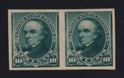 United States Sc 225p5 1890-93 10c Webster Plate Proof Pair On Stamp Paper