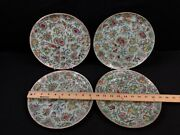 Magnificent Set Of 4 Mid 19th Century Chinese Enameled Rose Medallion Plates
