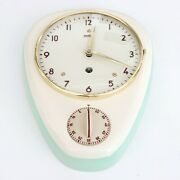Wehrle Wall Clock Kitchen Timer Original Key Vintage 1950s German Ceramic/glass