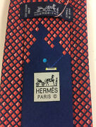Hermes Tie 645769 Ha Blue/red 100 Silk Tie Video Gameandrdquo Brand New With Tags