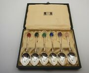 Cased Set Of Solid Silver Coffee Spoons Liberty And Co 1926 Hardstone Finials