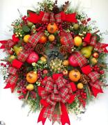 Made To Order, Williamsburg Thanksgiving Christmas Door Wall Wreath,fruit Wreath