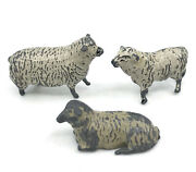 Britains Ltd Sheep X 3 Hollow Diecast Lead Farm Animal Figures 1930s 40s Vtg