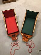 Rare Vintage Mountain Bay Sled Work Sleighs With Padded Seats