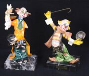 Lot Of 2 Fontanini Simonetti Clowns 942 Rabbit And 954 Cane 8.75h And 7.75h