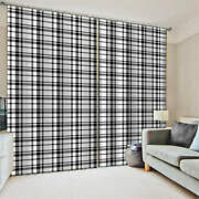 Grid Gray Flip Smooth Neat Feedback Printing 3d Blockout Curtains Fabric Window