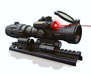Tactical Red Dot Reflex Sight With Red Laser And Fts Magnifier Combo Aimpro Alfa