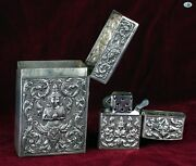 Antique Siam Asian Thailand Sterling Silver Cigarette Case And Lighter Match Safe