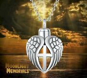 New Angel Wings Heart Cross Urn Cremation Pendant Ashes Memorial Necklace