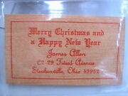 Wooden Money Nickel 1986 Merry Christmas Happy New Year Card Steubenville Ohio