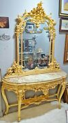Palatial Antique French Louis Style Gilt Carved Wood Onyx Top Console And Mirror