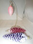 Lot 3 Vintage Purple Pink Red Pinecone Glass Ornaments Inge Germany Mint
