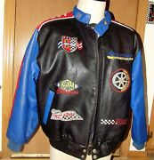Men's Vintage First Down Auto Racing Zip-up Jacket W/ Patches Size Large