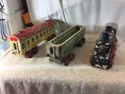 Vintage Collectible 3 Pc Wooden Train 1 Engine And 2 Cars Pre-owned