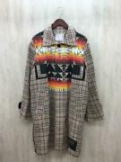 Sacai X Pendleton Check Coat Beige Cotton 19-01933m Size 3 Used From Japan