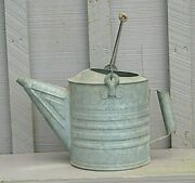 Old Vintage Galvanized Watering Can Wooden Handle Farmhouse Garden Tool Marked 8