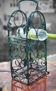 Rustic 7 Bottle Iron Wine Rack With Grape And Leaf Decor Heavy Duty