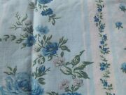 Vintage French Country Cottage Fabric Blue Roses And Striped Ticking Textile