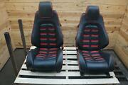 Set Of 2 Front Left Right Power Seat Black And Red Leather Ferrari F430 430 Coupe