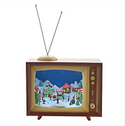 Raz Imports Animated Musical Tv Christmas Decoration Table Top New Mint Perfect
