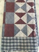 Homemade Queen Cutter Quilt Primitive Patch Pattern Red Blue Stripe Plaid Print