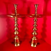 Pair Monumental Solid Brass Altar Candle Holders 25.5 In. H