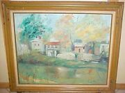 Vintage Oil Painting Along The Morris Canal By Helen Geller Local Nj Artist
