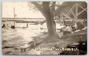 Lake View Iowablack Hawk Lakecrowded Lakewood Park Beachchutesc1915 Rppc