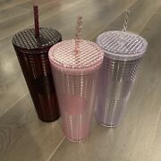 Lot Of 3 Starbucks Holiday 2020 Grid Tumblers Cold Cup 24 Oz