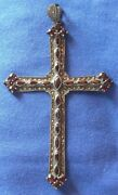 900-antique European Silver Cross With Marcasite And Garnet