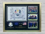 Ryder Cup Team Signed 2018 Paris Pin Flag Signed By 13 Members Aftal Coa Ftomm