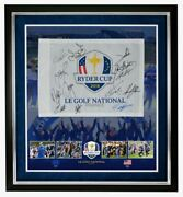 Ryder Cup Team Signed And Framed 2018 Paris Pin Flag Signed By 13 Aftal With Coa