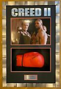 Dolph Lundgren And Florian Munteanu Signed And Framed Boxing Glove Creed Aftal Coa