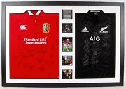 British And Irish Lions All Blacks Signed Rugby Jerseys Framed Aftal Coa