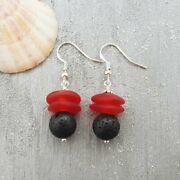Hawaii Volcanic Eruption With Lava And Fire Jewelry, Lava Rock And Red Sea Gl