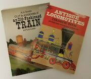 Cut Assemble Old Fashioned Train And Antique Locomotives Coloring Book Lot Set