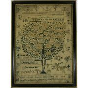 Antique Sampler 1814 And039tree Of Lifeand039 By Mary Sandler
