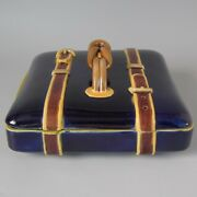 Brown Westhead Moore And Co Majolica Belted Suitcase Box And Cover