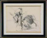 Charles Bragg - Untitled Pencil Drawing Signed Bullfight