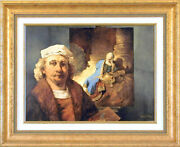 Charles Bragg - Rembrandt And Jeremiah Giclee On Canvas Signed Circa 1998