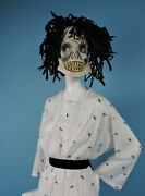 Antique 1920's Hand Painted Halloween Mask For Costume W Crepe Paper Hair
