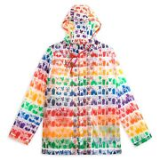 New Disney Parks Rainbow Collection Snacks And Icons Adult Rain Coat Jacket M-l