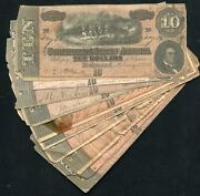 Lot Of 10 1864 10 Ten Dollars Csa Confederate States Of America Notes